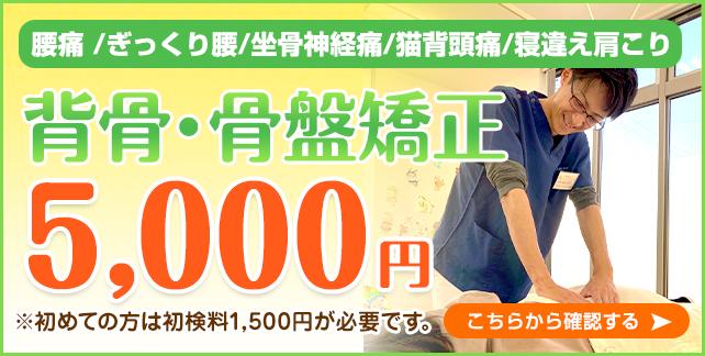 背骨・骨盤矯正5000円
